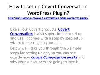 How to setup covert conversation WP plugin