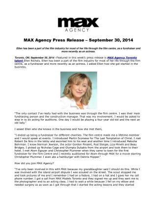 MAX Agency Press Release – September 30, 2014