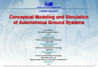 Conceptual Modeling and Simulation of Autonomous Ground  Systems