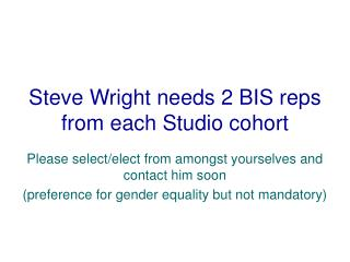 Steve Wright needs 2 BIS reps from each Studio cohort