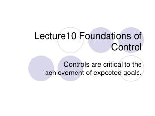 Lecture10 Foundations of Control