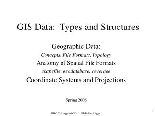 GIS Data:  Types and Structures