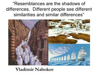 """Resemblances are the shadows of differences.  Different people see different similarities and similar differences"""