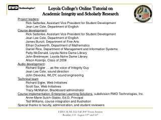 Loyola College's Online Tutorial on  Academic Integrity and Scholarly Research
