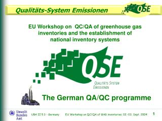 The German  QA/QC programme