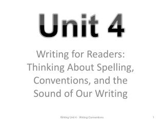 Writing for Readers: Thinking About Spelling, Conventions, and the Sound of Our Writing