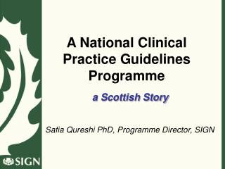 A National Clinical Practice Guidelines Programme