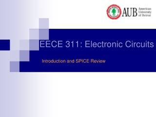 EECE 311: Electronic Circuits