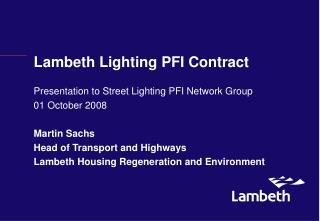 Lambeth Lighting PFI Contract