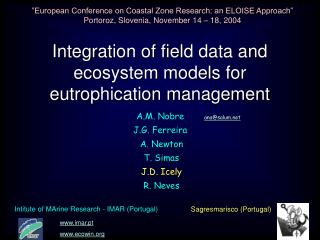 Integration of field data and ecosystem models for eutrophication management