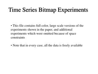 Time Series Bitmap Experiments