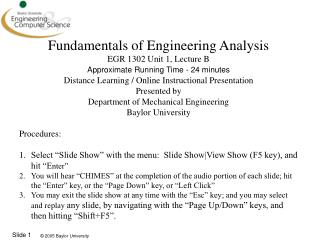 Fundamentals of Engineering Analysis EGR 1302 Unit 1, Lecture B