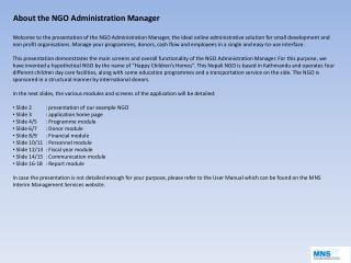 About the NGO Administration Manager