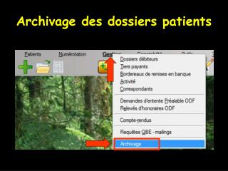 Archivage des dossiers patients