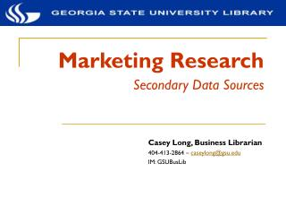 Marketing Research Secondary Data Sources