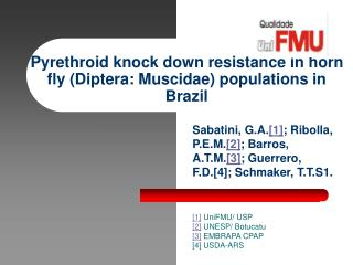 Pyrethroid knock down resistance in horn fly (Diptera: Muscidae) populations in Brazil