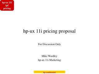 hp-ux 11i pricing proposal