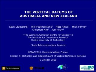 THE VERTICAL DATUMS OF  AUSTRALIA AND NEW ZEALAND