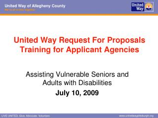 United Way Request For Proposals  Training for Applicant Agencies