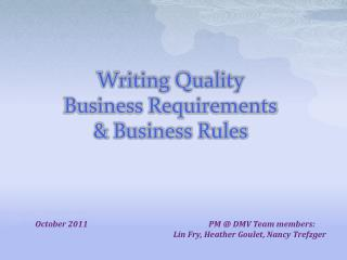 Writing Quality  Business Requirements  & Business Rules