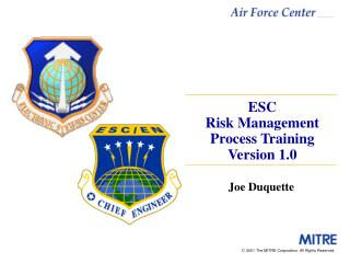 ESC Risk Management Process Training Version 1.0