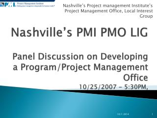 Nashville's Project management Institute's Project Management Office, Local Interest Group