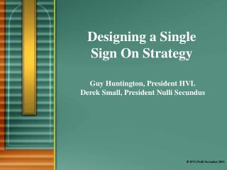 Designing a Single  Sign On Strategy
