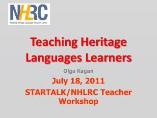 Teaching Heritage Languages Learners