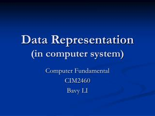 Data Representation (in computer system)
