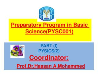Preparatory Program in Basic  Science(PYSC001 )