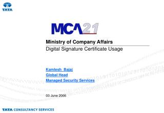 Ministry of Company Affairs  Digital Signature Certificate Usage