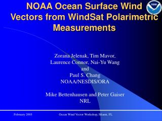 NOAA Ocean Surface Wind Vectors from WindSat Polarimetric Measurements