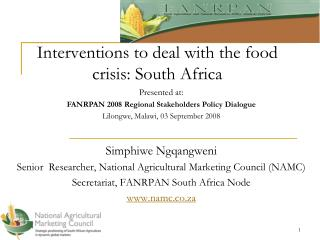 Interventions to deal with the food crisis: South Africa