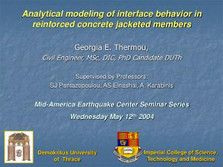 Analytical modeling of interface behavior in reinforced concrete jacketed members