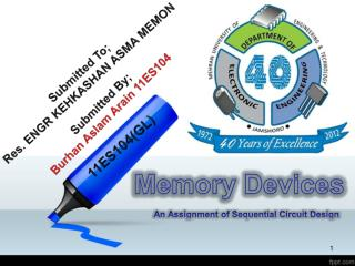 Memory Devices An Assignment of Sequential Circuit Design