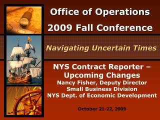 NYS Contract Reporter   Upcoming Changes Nancy Fisher, Deputy Director Small Business Division NYS Dept. of Economic Dev
