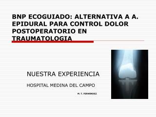 BNP ECOGUIADO: ALTERNATIVA A A. EPIDURAL PARA CONTROL DOLOR POSTOPERATORIO EN TRAUMATOLOGIA