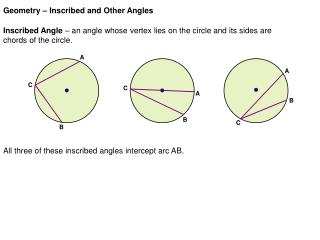 Geometry – Inscribed and Other Angles