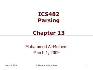 ICS482  Parsing Chapter 13