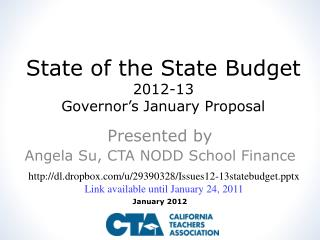 State of the State Budget 2012-13  Governor's January Proposal
