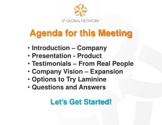 Agenda  for this Meeting