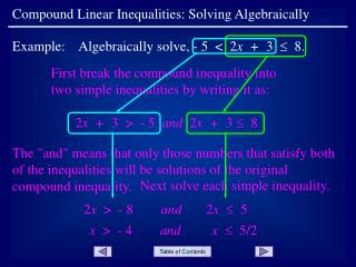 Compound Linear Inequalities: Solving Algebraically