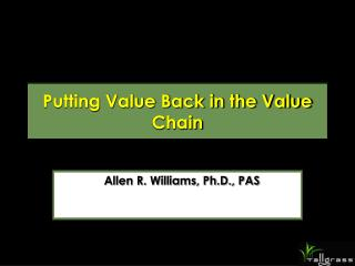 Putting Value Back in the Value Chain