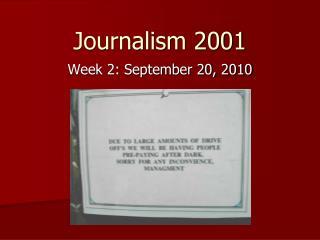 Journalism 2001
