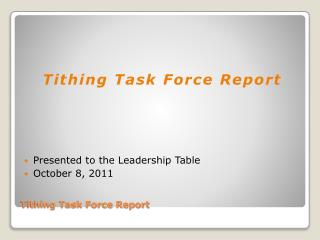 Tithing Task Force Report