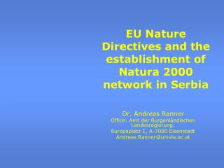 EU Nature Directives and the establishment of Natura 2000 network in Serbia