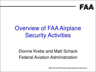 Overview of FAA Airplane Security Activities
