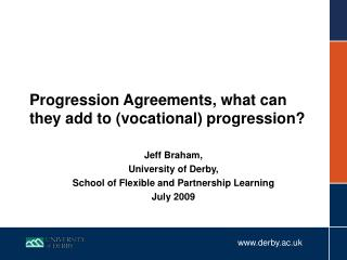 Progression Agreements, what can they add to (vocational) progression?