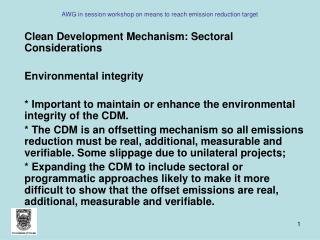 AWG in session workshop on means to reach emission reduction target