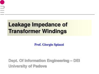 Leakage Impedance of Transformer Windings